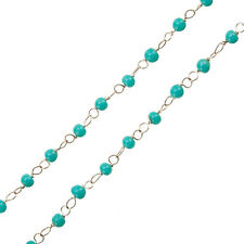 Rosary Style Wire Chain With Turquoise Round 4mm Glass Beads 1 Metre (G47)