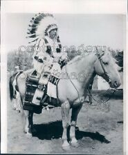 1988 Native American Barney Old Coyote on Horse Montana Press Photo