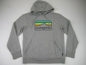 Mens Small Patagonia Line Logo Badge Hoodie heather gray pullover