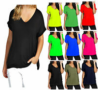 Ladies Baggy Fit V Neck Top Women Turn Up Loose Batwing Oversized Tee Size 8-22