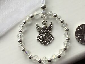 SPARKLY WHITE ANGEL (B) CRYSTAL BEADED HANGING DECORATION - Christmas Tree Car