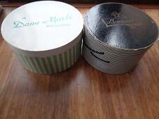 2~Vtg Dana Marte'~Bowman'S Harrisburg Round Green/Black White Stripes Hat Box
