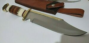 JIM BOWIE LEATHER STACKED HUNTING BOWIE KNIFE W/ SHEATH CASE !!!
