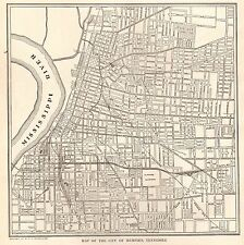 1923 Antique MEMPHIS Map of Memphis Tennessee Black and White Gallery Wall 4238