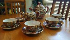 Vintage Porcelain Dragon Ware Moriage Satsuma Tea Set/ Teapot Lithopane Geisha