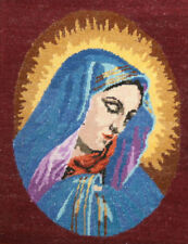 VINTAGE EUROPEAN HAND MADE VIRGIN MARY EMBROIDERY TAPESTRY GOBELIN