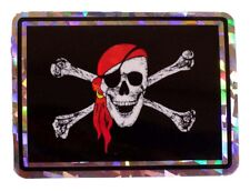 Wholesale Lot 12 Red Hat Pirate Jolly Roger Flag Reflective Decal Bumper Sticker