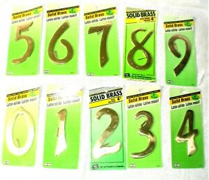 "Set of 10 HY-KO Solid Brass Number 4"" w/Fasteners  0 thru 9""New in Pkg"""