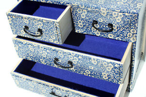 Wood handmade Chest of 4 drawers Decpupage keepsake Blue, Flowers, Lined