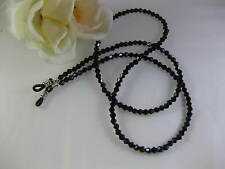 "BLACK GLAMOR 27"" Swarovski Bi-Cone Shaped Crystal Beaded Eyeglass Chain~Holder"