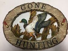 New-Large Beautiful Mallard Duck Poly Resin Log Gone Hunting Wall Sign