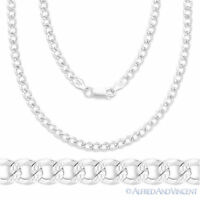Italy 925 Sterling Silver 4.4mm DCut Pave Curb Cuban Link Italian Chain Necklace