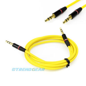 4FT 3.5MM AUX JACK MALE AUDIO STEREO CABLE CORD YELLOW FOR IPHONE 5S 5C 5 IPOD