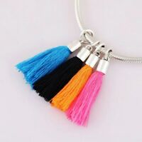 Sterling Silver Multi Color Fabric Tassel Dangle Charm Fit European Bracelet