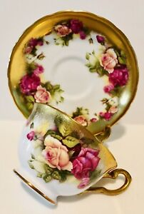 Royal Chelsea England Tea Cup & Saucer Golden Rose; Up To 4 Sets Available