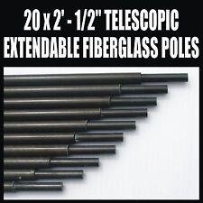 "x20 2' x 1/2"" FIBERGLASS TELESCOPIC EXTENDABLE POLES AMATEUR HAM RADIO ANTENNA"