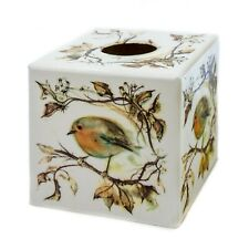 Red Robin Tissue Box Cover cube wooden handmade decoupaged in UK perfect gift