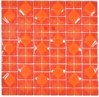 Mosaik Fliese Transluzent rot quadratisch 3D Red Dot Design WB68-0925 |1Matte