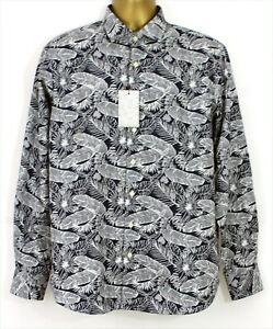 Simon Carter Mens New Tropical Leaf Blue Slim Fit Long Sleeve Dress Shirt 16.5