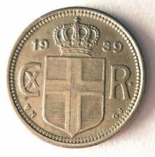 1939 ICELAND 10 AURAR - AU/UNC - High Quality Low Mintage Coin - Lot #Y9