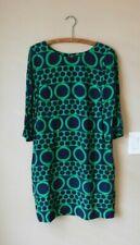 Boden Navy Blue Kelly Green Circles Dots Shift Dress US 8 L Tall Button Keyhole