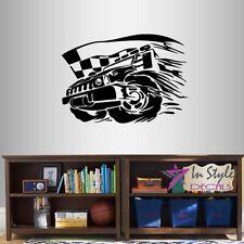 Vinyl Decal Sports Car Race Checkered Flags Racing Boys Room Wall Sticker 1314