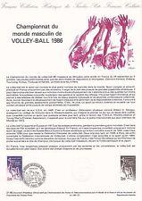 Document Philatélique Timbre 1er Jour : 24/05/ 1986 - Championnat Volley Ball