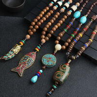 Fashion Wooden Beaded Pendant Necklace Long Sweater Chain Boho Carved Jewelry