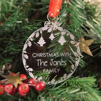 Personalised Christmas Tree Decoration Engraved Bauble Gift - Xmas with Family