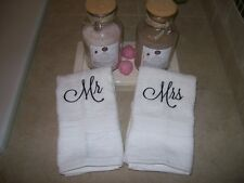 Mr & Mrs Embroidered  white hand towels -Set of 2