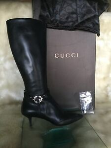 Authentic GUCCI black leather tall boots , size 36,5.