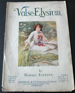 HOWARD EGERTON VALSE-ELYSIUM PIANO SOLO SHEET MUSIC (1800's) ENGLAND