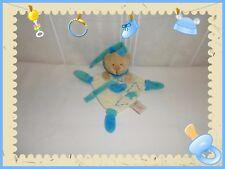 V - Doudou Semi Plat Ours Beige Bleu Vert Attache Sucette Etoile Baby Nat