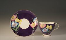 Foley China Purple Handpainted Floral Cup and Saucer, England c. 1930