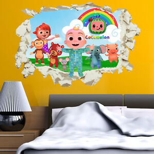 Cocomelon Baby Nursery Rhymes Wall Sticker Decal Smashed Crack Kids Bedroom V1