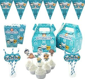 Octonauts Theme Children Birthday Cake Deco Popcorn Box Straw Flag  Party Supply