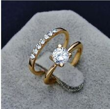 rose gold plated round cut cubic zirconia fake engagement wedding love ring set