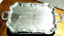 Vintage Heavy International Silver Co. Large Silver plated Footed Serving Tray