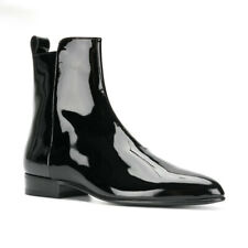 Mens Patent Leather Pointed Toe Side zip Chelsea Boots Cowboy Boots Casual Shoes