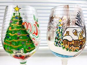 2 LOLITA HAND PAINTED Wine Blown Glass Set - CHRISTMAS SERIES Rare Pair Glasses