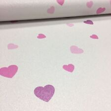 Love Hearts Glitter Wallpaper Textured Vinyl White Pink Purple Paste The Wall