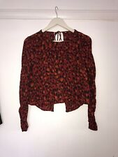 Red animal Print Backless Blouse