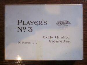 """Players No.3 """"Extra Quality Cigarettes"""". 50 Cig Tin. Rare Vintage Tobacciana."""
