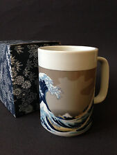 "Japanese 5""H Tea Mug Cup White w/ Blue Hokusai Hiroshige Big Wave, Made in Japan"