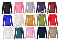 Childrens Kids Stretchy Plain Round Scoop Neck Long Sleeve Top/T Shirt Age 3-13y