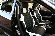 8pcs Car Seat Cover Black White Needlework PU Leather Fit for Cruze K2 Sonata M3