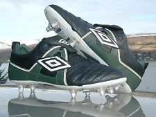 New Umbro LEATHER Soft Ground Grass Green Black White Gold Football Boots UK 9