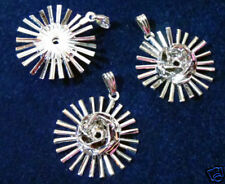 Sparks Rose Pendant rhodium Silver Plated 7mm Ø Round (pkg 3) 1178