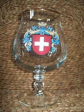 SWITZERLAND CRESTED GOLD RIMMED BRANDY GLASS