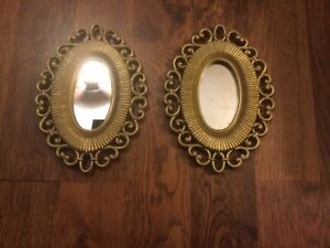 Home Interior Gold Oval Wicker Frame Resin Wall Mirror Set of 2 Repainted EUC